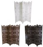 4 Panel Hand Carved Indian Wooden Bells Design Folding Screen Room Divider